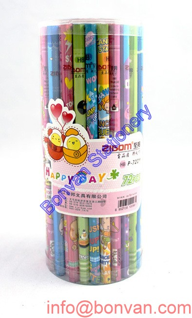 PVC tube packed HB wooden stationery pencil