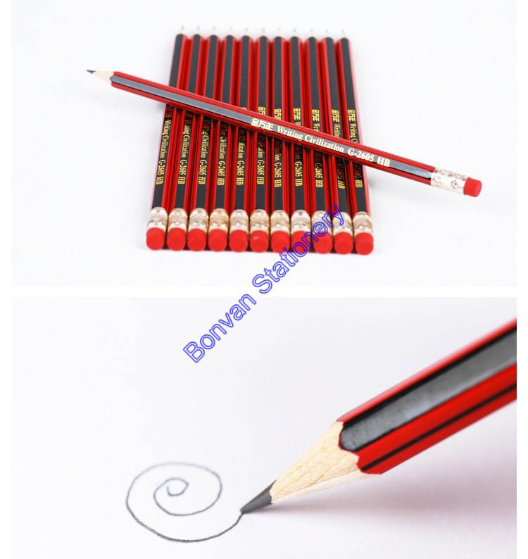 wholesale good quality stripped HB wooden pencil